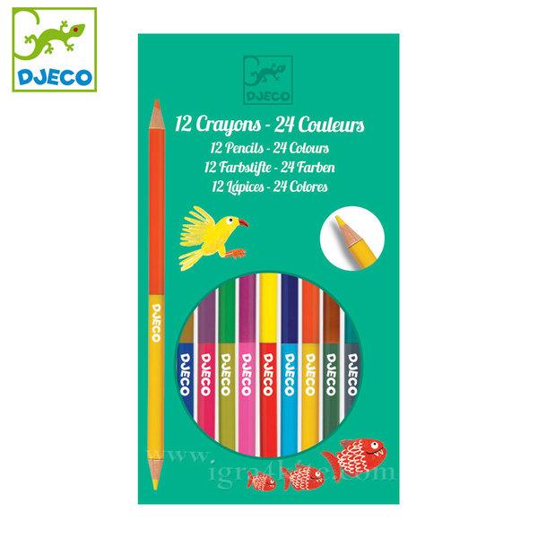 Djeco - Цветни моливи 12 броя 24 цвята dj09758