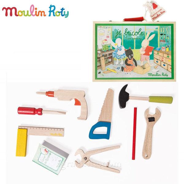 Moulin Roty - Детски дървени инструменти в куфарче 632403