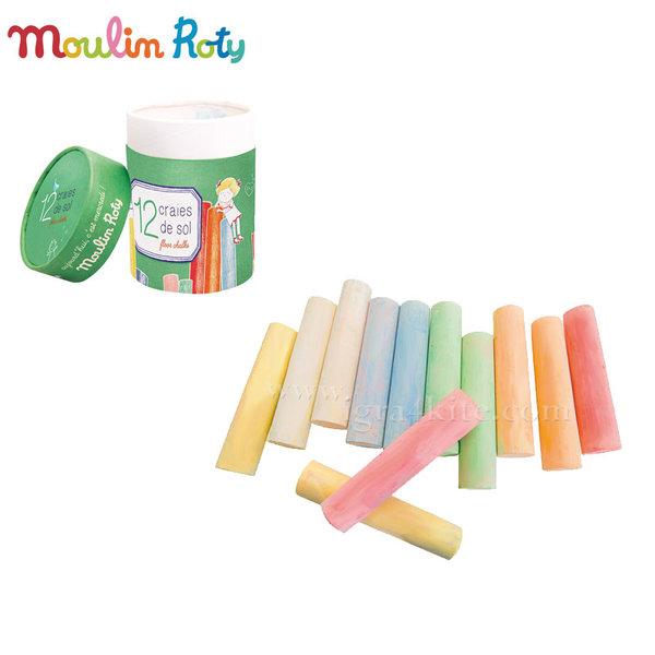 Moulin Roty - Цветни тебешири в кутия 12 цвята 713111