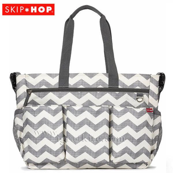 Skip Hop - Чанта за разходки за близнаци с подложка за повиване Double Signatute шеврон 230102