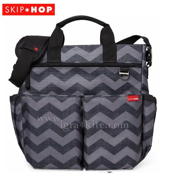 Skip Hop - Чанта за разходки с подложка за повиване Duo Signature Тъмен шеврон 200322