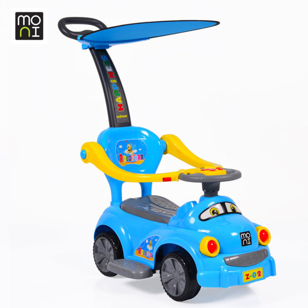 Moni - Детска кола за бутане с родителски контрол Go Z02B синя 103768