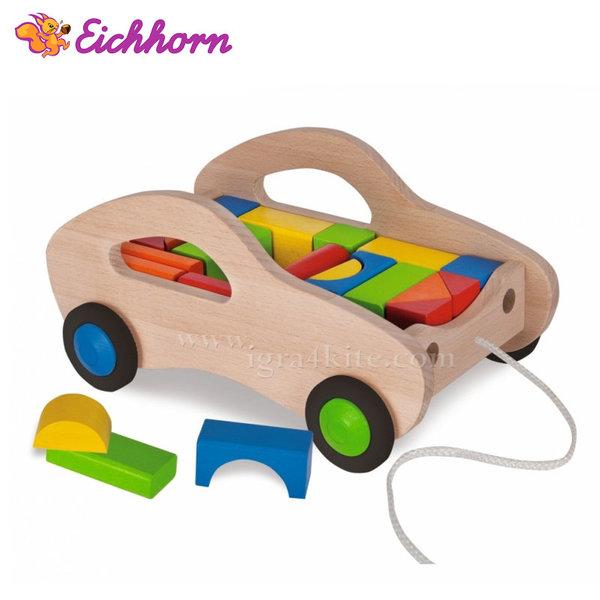 Eichhorn - Дървена количка с кубчета 100001869
