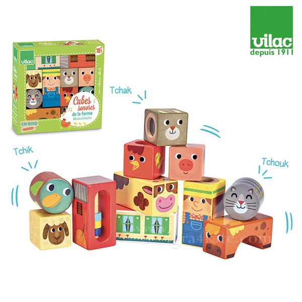 Vilac - Дървени музикални кубчета Ферма 2102