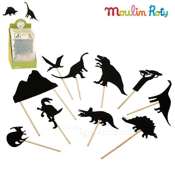 Moulin Roty - Комплект за театър сенки в мрака Динозаври 711014