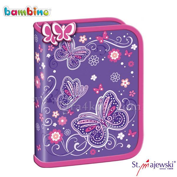 Bambino Premium - Ученически несесер 1 цип празен Butterfly