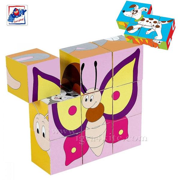 Woody - Детски дървени кубчета Животни 91138