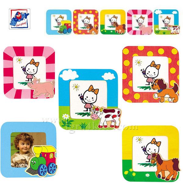Woody - Детска дървена рамка за снимки Животни 93046