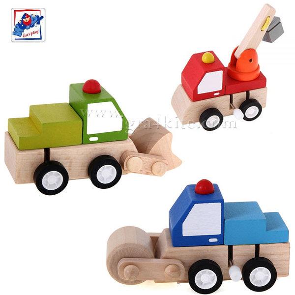 Woody - Дървени колички с механизаъм 91000