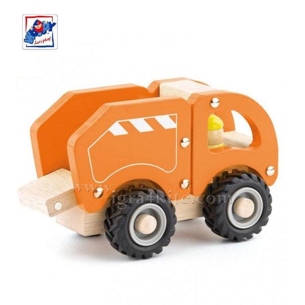 Woody - Дървен детски камион за боклук 91801