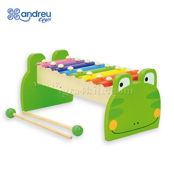 Andreu Toys - Дървен ксилофон Жаба 15408