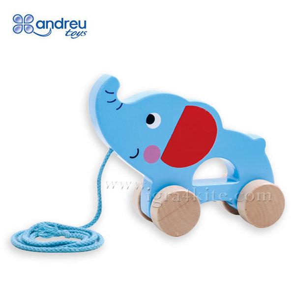 Andreu Toys - Дървено слонче за дърпане 15104