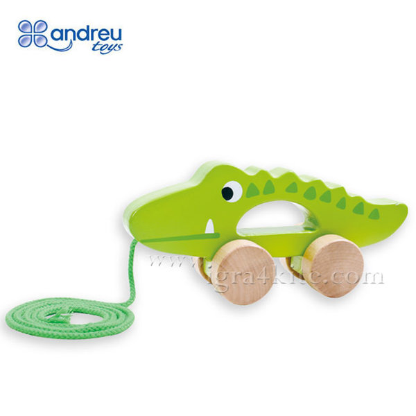 Andreu Toys - Дървен крокодил за дърпане 15105
