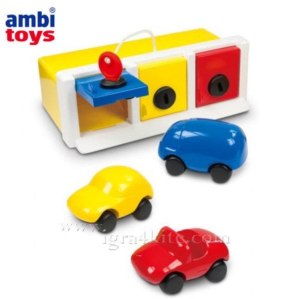 Ambi Toys - Детски гараж с три колички 31079