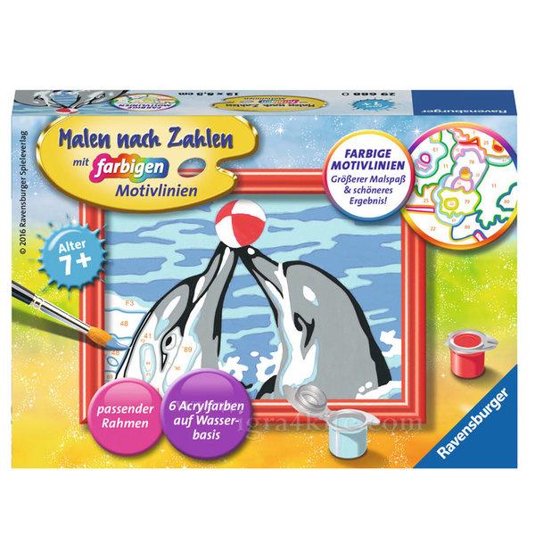 Ravensburger - Рисуване по номера 7+ Игра на делфини 7029688