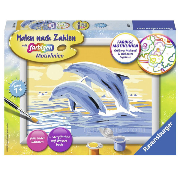 Ravensburger - Рисуване по номера 7+ Делфини 7028017