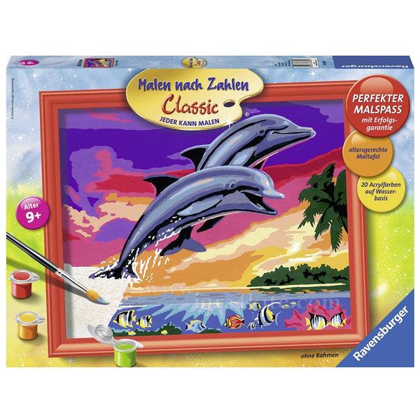 Ravensburger - Рисуване по номера 9+ Цветни делфини 7028389