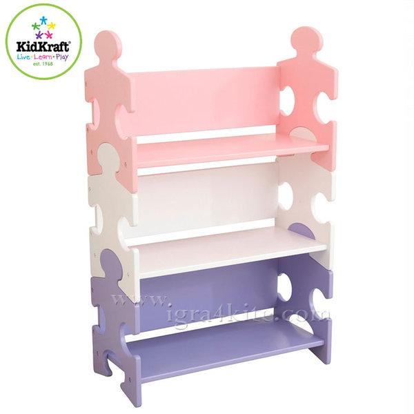 KidKraft - Детска дървена библиотека Puzzle Pastel 14415