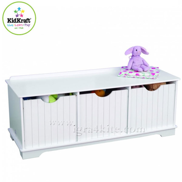 KidKraft - Детска дървена пейка шкаф Nanucket 14564