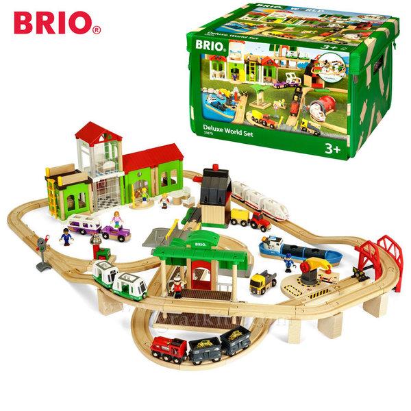 Brio - Дървено влакче с релси Deluxe World 33870