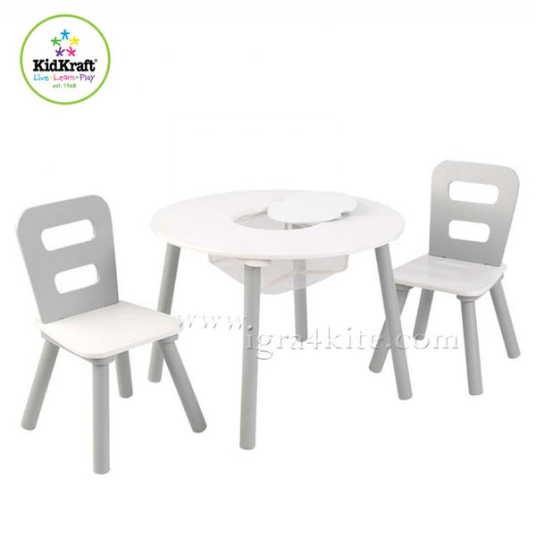 KidKraft - Детска дървена маса с два стола White&Grey 26166