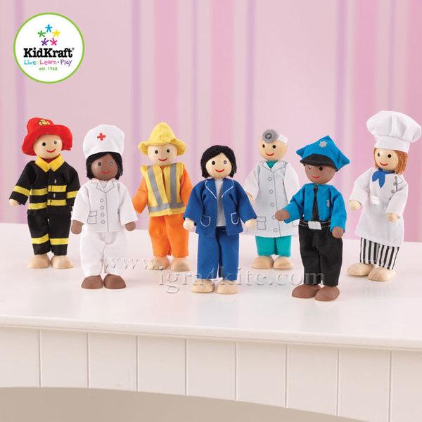 KidKraft - Комплект дървени кукли с професии 63279
