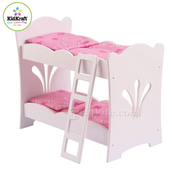 KidKraft - Детско дървено двуетажно легло за кукли Lil 60130