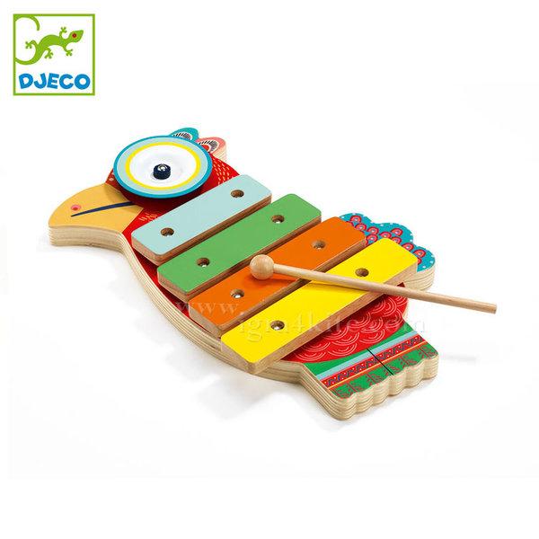 Djeco - Детски дървен ксилофон с чинел Animambo DJ06018