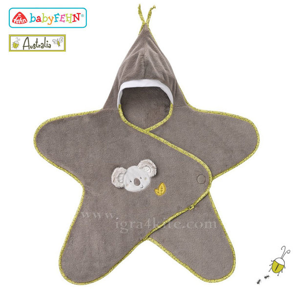 Baby Fehn Australia - Бебешко одеало с качулка Коала 064209