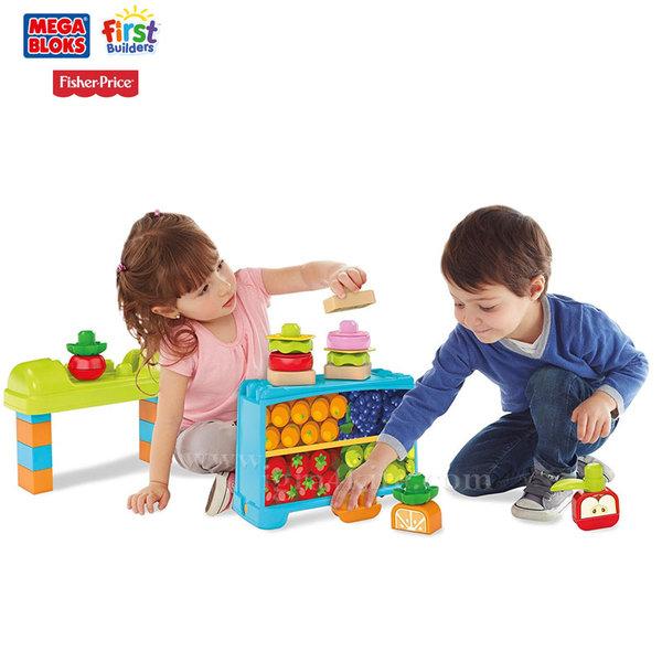 Fisher Price Mega Bloks - Кутия със закуски и щанд за плодове и зеленчуци 2в1 DPJ54