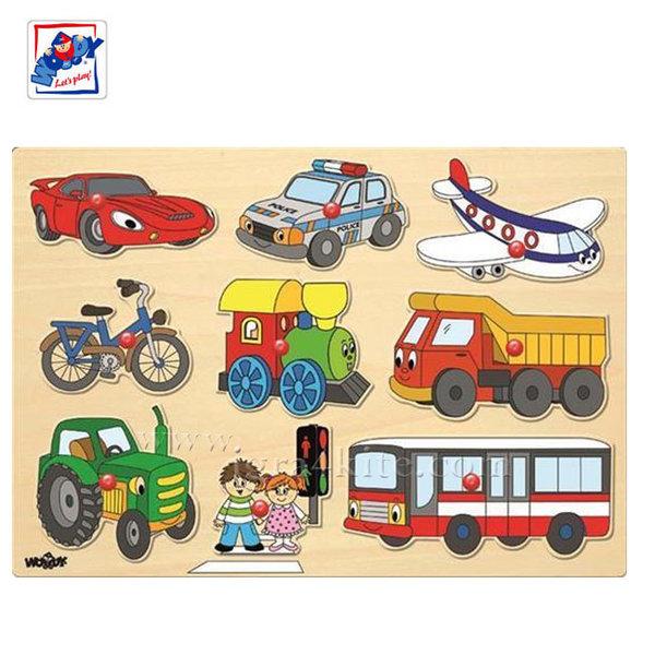 Woody - Детски дървен пъзел с дръжки Превозни средства 91906