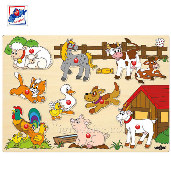 Woody - Детски дървен пъзел с дръжки Ферма 91905