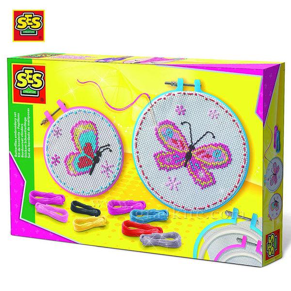 SES Creative - Комплект за бродиране Пеперуди 14658