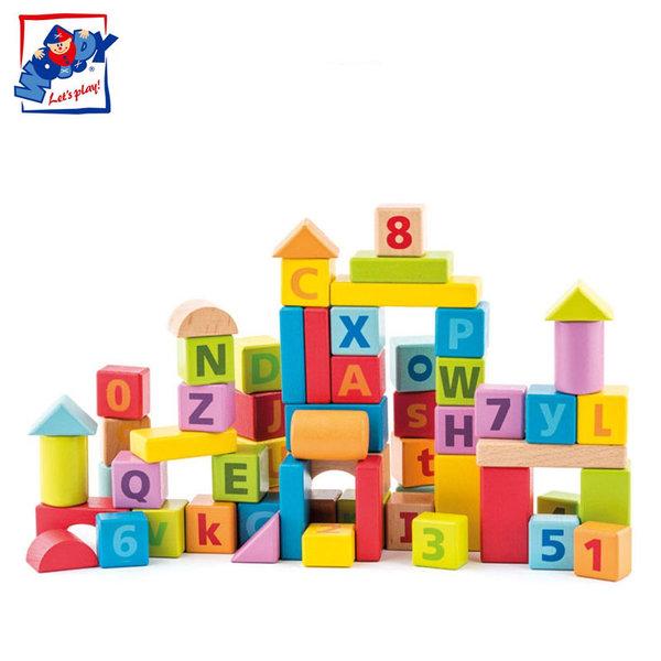 Woody - Детски дървен конструктор с цифри и букви 91842