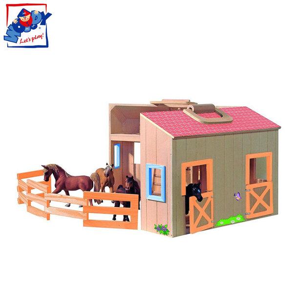 Woody - Дървена конюшна в куфарче 90879