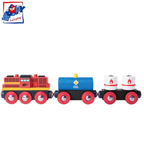 Woody - Дървено товарно влакче с дизелов локомотив 91898