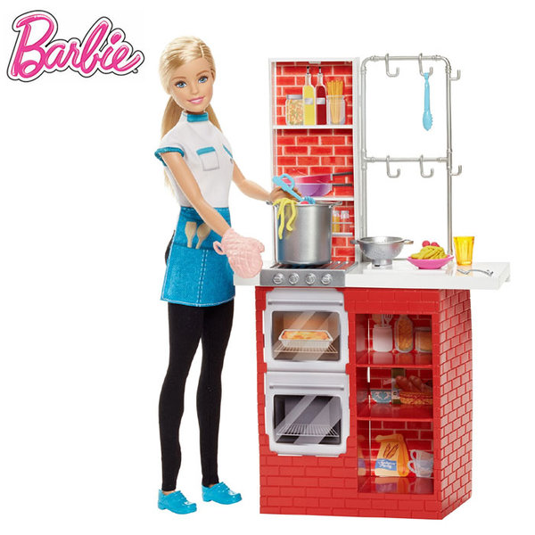 Barbie - Барби кукла готвач на паста с кухня dmc36