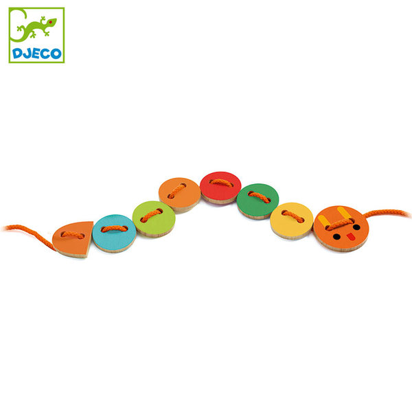 Djeco - Дървени копчета за нанизване LassaBasic DJ06205