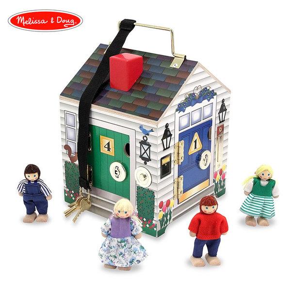 Melissa&Doug - Дървена куклена къща с 4 входа с ключове 12505
