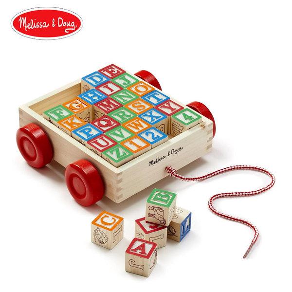 Melissa&Doug - Дървени кубчета ABC в количка за дърпане 11169