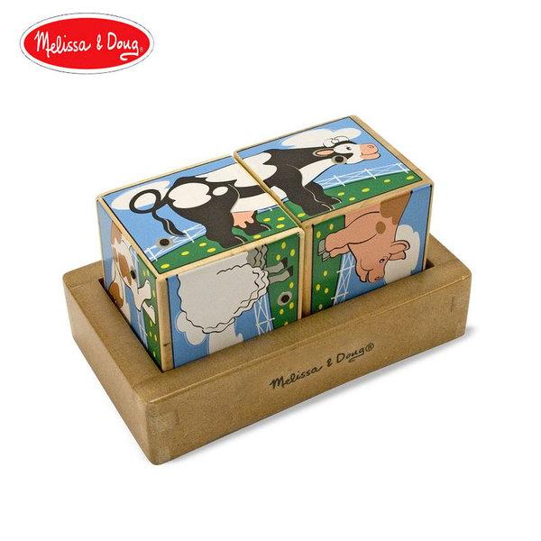 Melissa&Doug - Дървени музикални кубчета Ферма 11196
