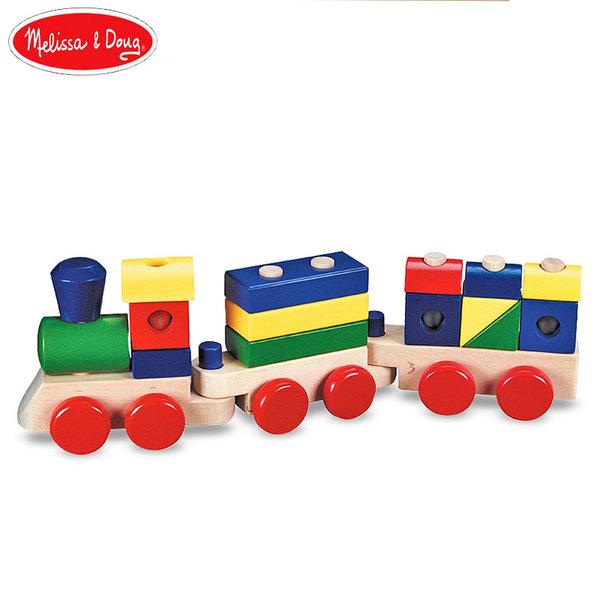 Melissa&Doug - Дървен дидактически влак с 2 вагона 10572