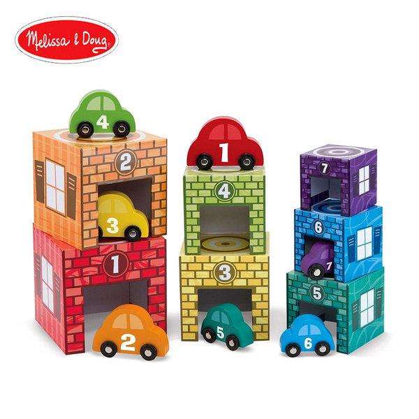Melissa&Doug - Дървени кубчета с колички 12435