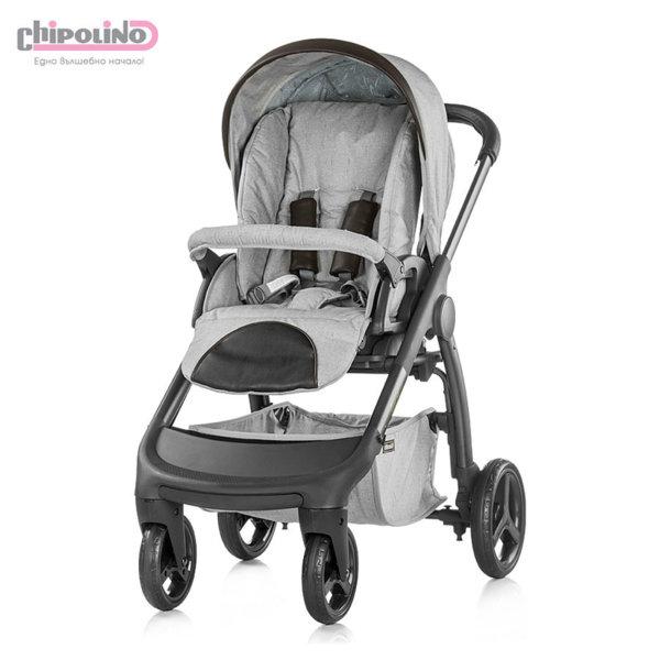 Chipolino - Бебешка количка Аура 3в1 с твърд кош и столче за кола сива перла лен меланж