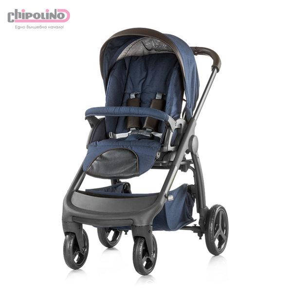 Chipolino - Бебешка количка Аура 3в1 с твърд кош и столче за кола индиго лен меланж