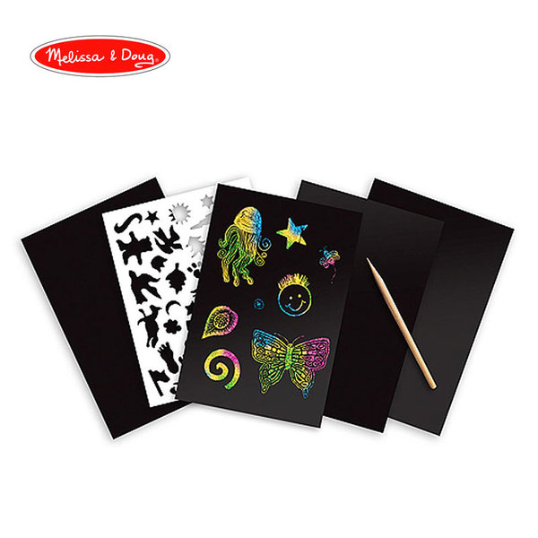Melissa&Doug - Скреч арт цветни холограмни картинки 15805