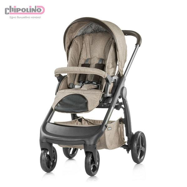 Chipolino - Бебешка количка Аура 3в1 с твърд кош и столче за кола фрапе лен меланж