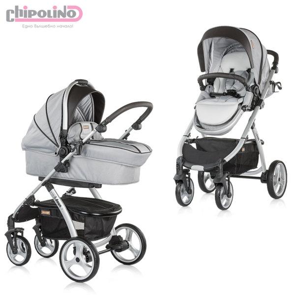 Chipolino - Бебешка количка Up&Down 2в1 сива перла