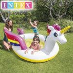 Intex – Надуваем басейн Еднорог с пръскало 57441