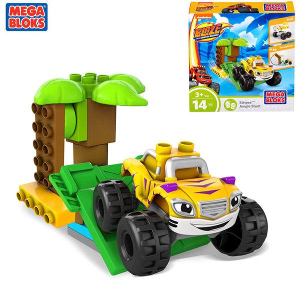 Mega Bloks Blaze and the Monster - Строител с количка Stripes Jungle Stunt DPH73